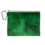 Ombre Green Abstract Forest Canvas Cosmetic Bag (L) Front