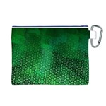 Ombre Green Abstract Forest Canvas Cosmetic Bag (L) Back