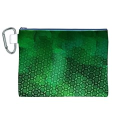 Ombre Green Abstract Forest Canvas Cosmetic Bag (XL)