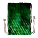 Ombre Green Abstract Forest Drawstring Bag (Large) Front