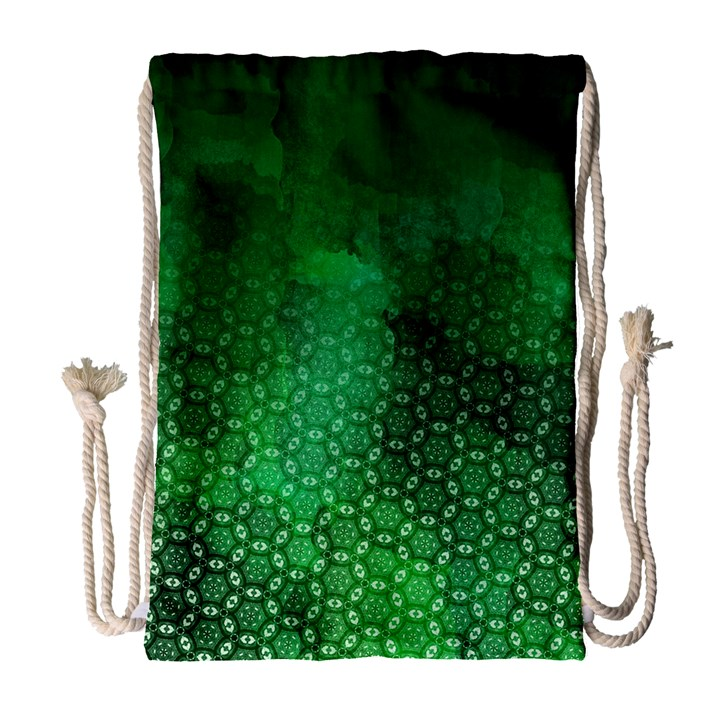 Ombre Green Abstract Forest Drawstring Bag (Large)