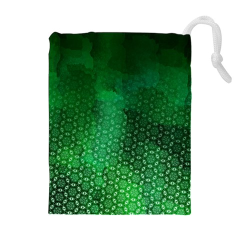 Ombre Green Abstract Forest Drawstring Pouches (Extra Large)