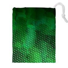 Ombre Green Abstract Forest Drawstring Pouches (xxl)