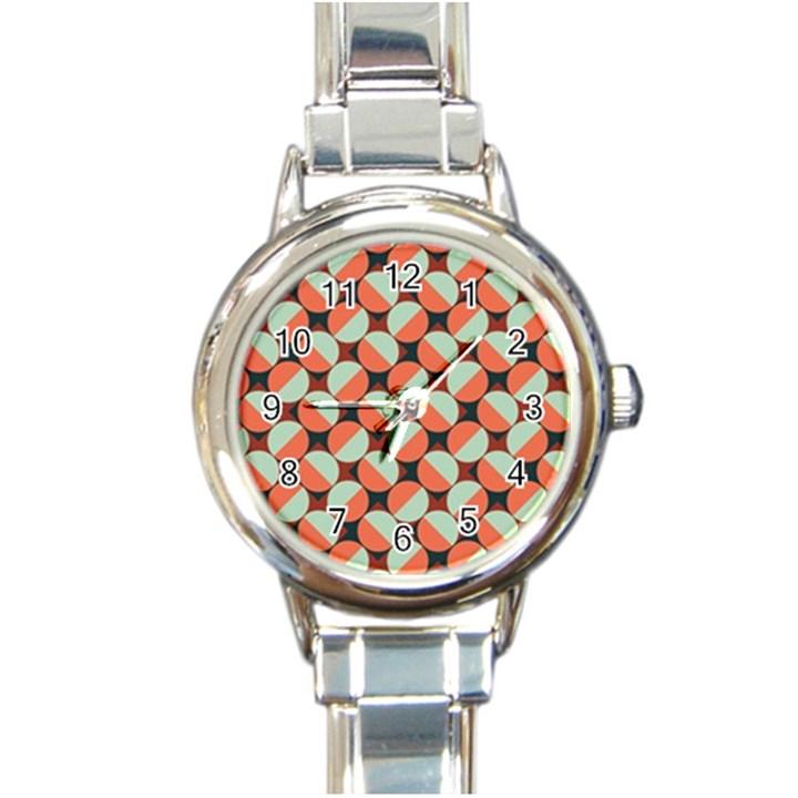 Modernist Geometric Tiles Round Italian Charm Watch