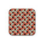 Modernist Geometric Tiles Rubber Coaster (Square)  Front