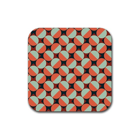 Modernist Geometric Tiles Rubber Square Coaster (4 pack)