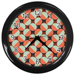 Modernist Geometric Tiles Wall Clocks (Black) Front