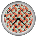 Modernist Geometric Tiles Wall Clocks (Silver)  Front