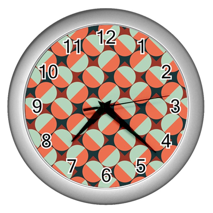 Modernist Geometric Tiles Wall Clocks (Silver)