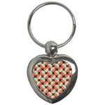 Modernist Geometric Tiles Key Chains (Heart)  Front