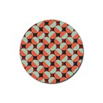 Modernist Geometric Tiles Rubber Round Coaster (4 pack)  Front