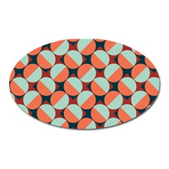 Modernist Geometric Tiles Oval Magnet