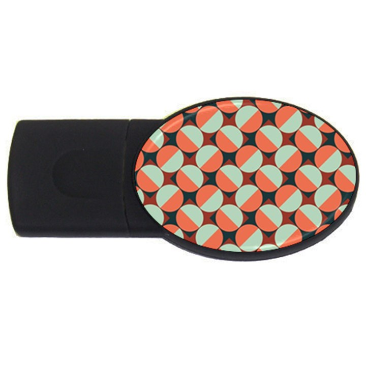 Modernist Geometric Tiles USB Flash Drive Oval (2 GB)