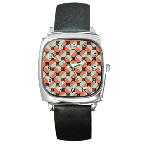 Modernist Geometric Tiles Square Metal Watch