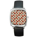 Modernist Geometric Tiles Square Metal Watch Front