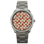 Modernist Geometric Tiles Sport Metal Watch Front