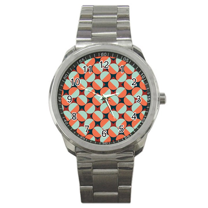 Modernist Geometric Tiles Sport Metal Watch