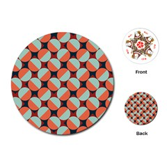 Modernist Geometric Tiles Playing Cards (round)