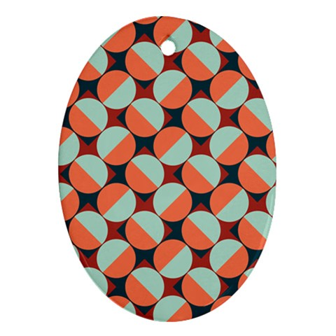 Modernist Geometric Tiles Oval Ornament (Two Sides)