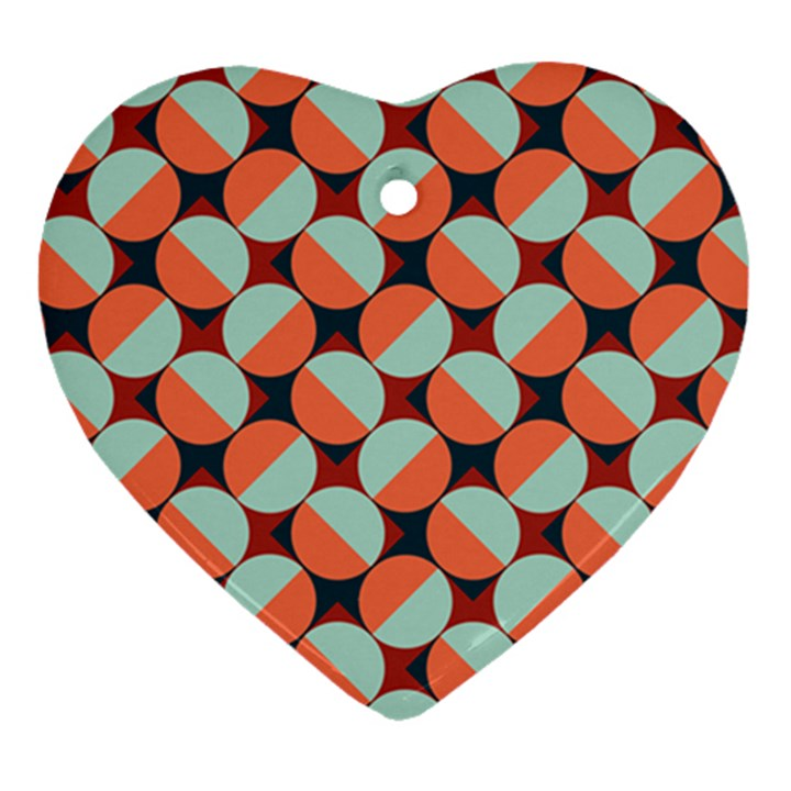 Modernist Geometric Tiles Heart Ornament (2 Sides)