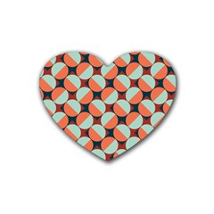 Modernist Geometric Tiles Rubber Coaster (Heart)
