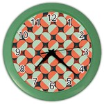Modernist Geometric Tiles Color Wall Clocks Front