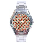Modernist Geometric Tiles Stainless Steel Analogue Watch Front