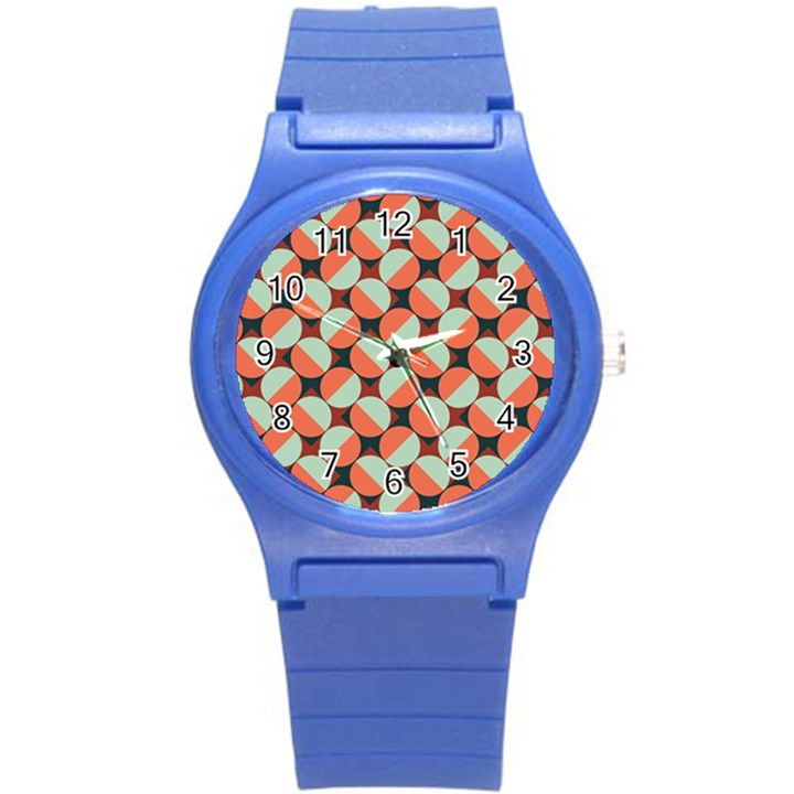 Modernist Geometric Tiles Round Plastic Sport Watch (S)