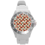 Modernist Geometric Tiles Round Plastic Sport Watch (L) Front