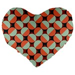 Modernist Geometric Tiles Large 19  Premium Heart Shape Cushions Back