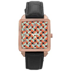 Modernist Geometric Tiles Rose Gold Leather Watch