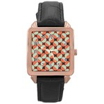 Modernist Geometric Tiles Rose Gold Leather Watch  Front