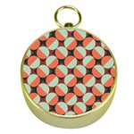 Modernist Geometric Tiles Gold Compasses Front