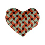 Modernist Geometric Tiles Standard 16  Premium Flano Heart Shape Cushions Front