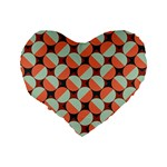 Modernist Geometric Tiles Standard 16  Premium Flano Heart Shape Cushions Back