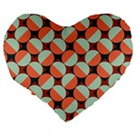 Modernist Geometric Tiles Large 19  Premium Flano Heart Shape Cushions Back