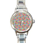 Modernist Floral Tiles Round Italian Charm Watch Front