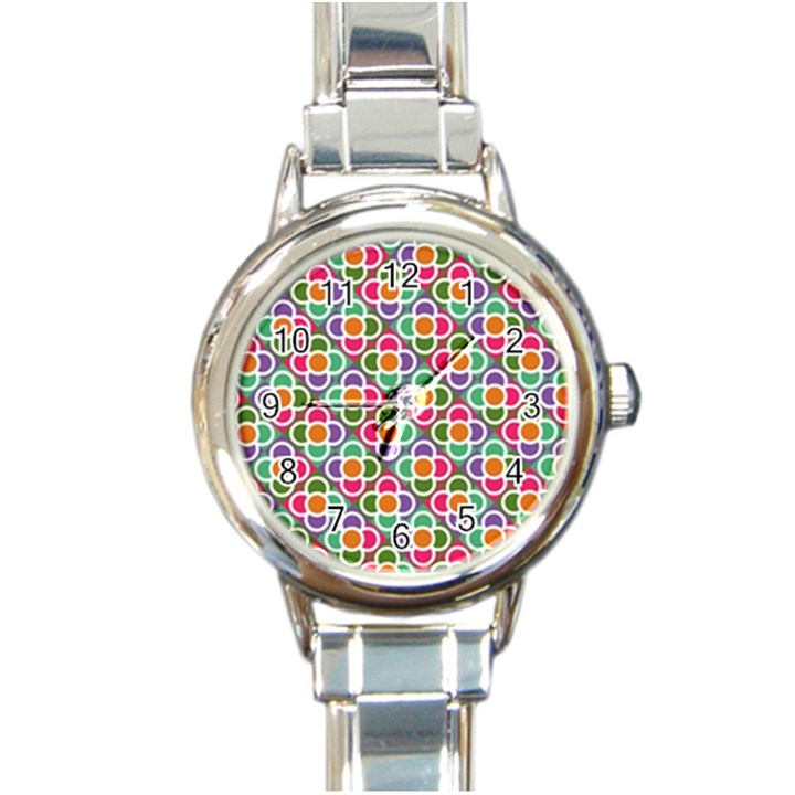 Modernist Floral Tiles Round Italian Charm Watch
