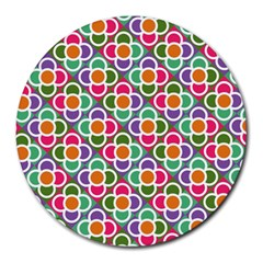 Modernist Floral Tiles Round Mousepads