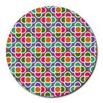 Modernist Floral Tiles Round Mousepads Front