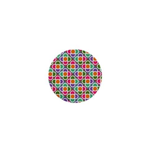 Modernist Floral Tiles 1  Mini Buttons