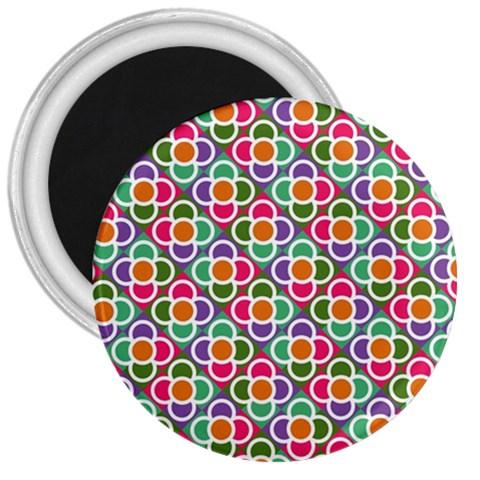 Modernist Floral Tiles 3  Magnets