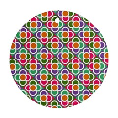 Modernist Floral Tiles Ornament (Round)