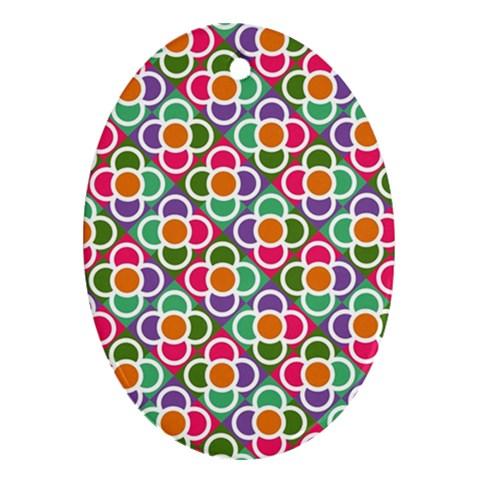 Modernist Floral Tiles Ornament (Oval)