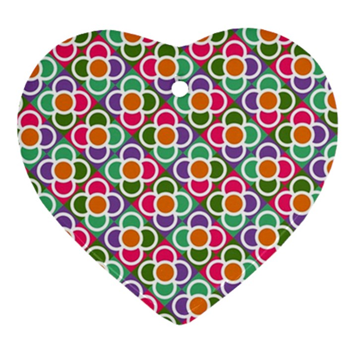 Modernist Floral Tiles Ornament (Heart)
