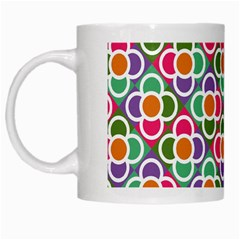 Modernist Floral Tiles White Mugs