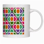 Modernist Floral Tiles White Mugs Right