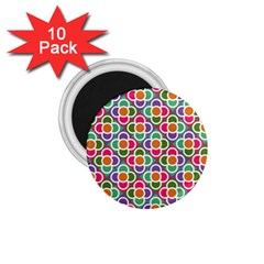 Modernist Floral Tiles 1 75  Magnets (10 Pack)