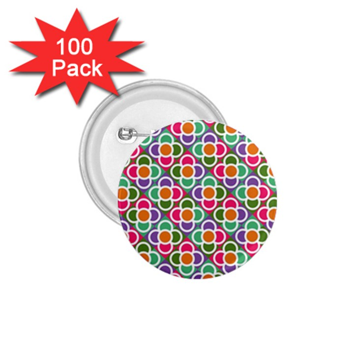 Modernist Floral Tiles 1.75  Buttons (100 pack)