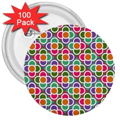 Modernist Floral Tiles 3  Buttons (100 pack)